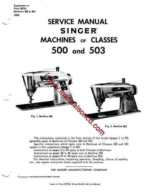 Singer 500-503 Sewing Machine Service Manual