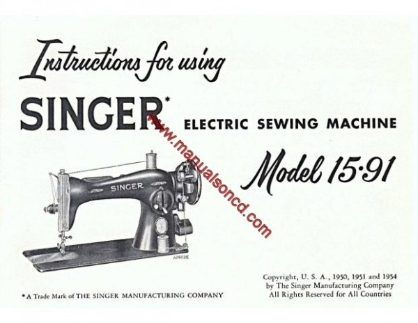 Singer 15-91 Sewing Machine Instruction Manual