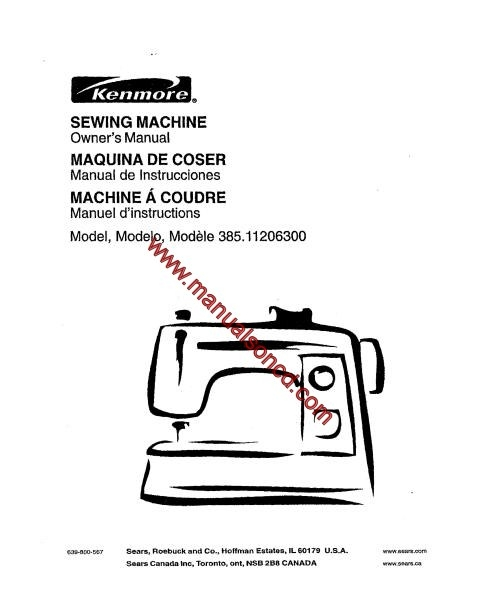 Kenmore 385.11206300 Sewing Machine Manual
