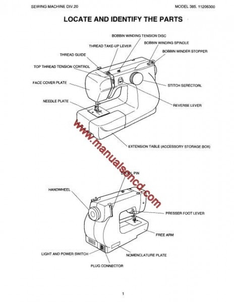 Kenmore 385.11206300 Sewing Machine Service Manual