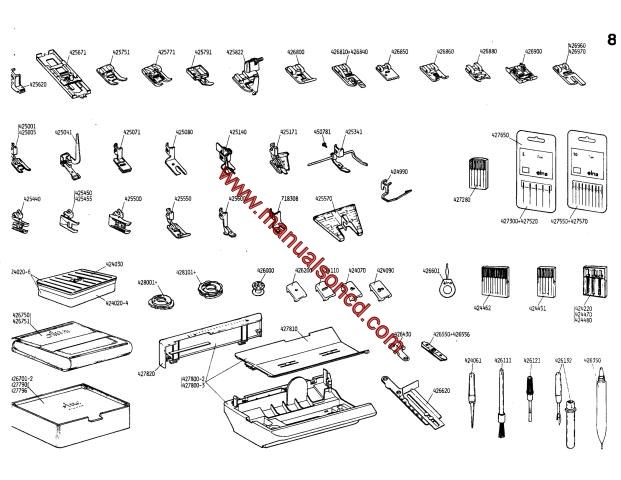 Elna Carina Electronic And Elna 500 Electronic Parts Manual