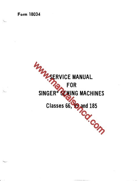 Singer 66, 99, 185 Adjusters Manual Sewing Machine