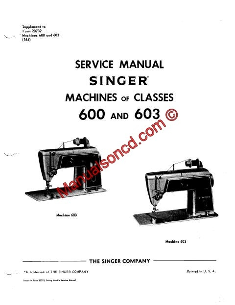 Singer 600-603 Sewing Machine Service Manual