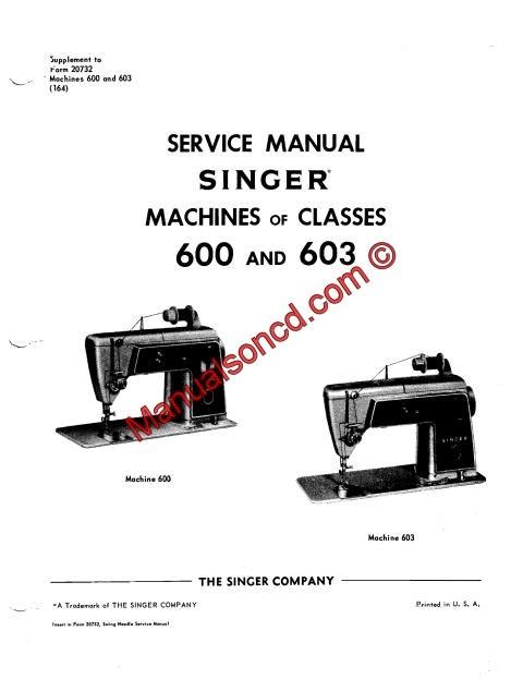 Singer 600-603 Sewing Machine Service Manual