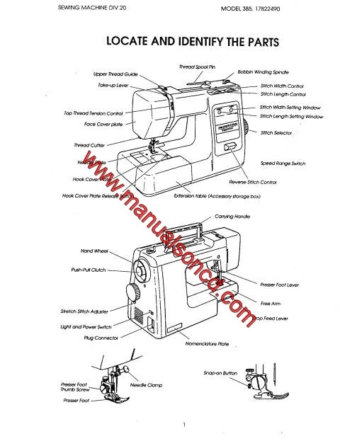 Kenmore Model 385.17126690 Sewing Machine Service Manual