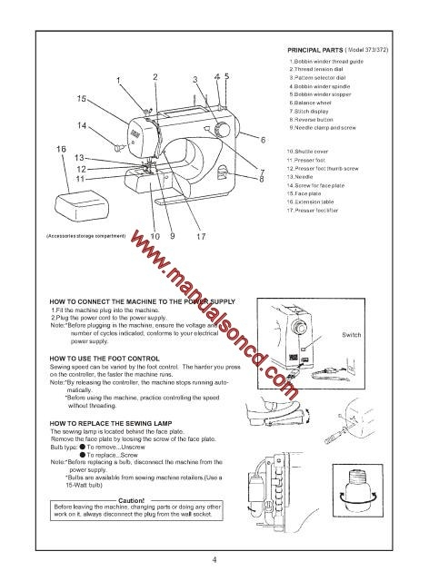 Euro-pro 372, 373, 374, 377 Sewing Machine Instruction Manual
