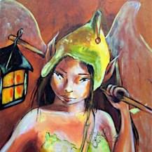 tableau elfe tenant une lanterne