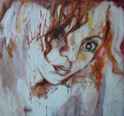 tableau carré portrait femme demi profil