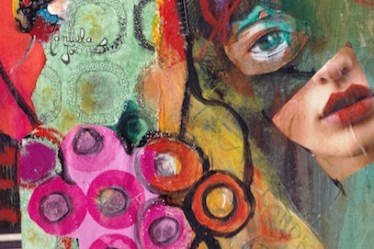 assemblage collage coloré visage peinture