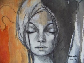 dessin femme yeux fermés