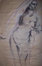 dessin ange debout cheveux longs
