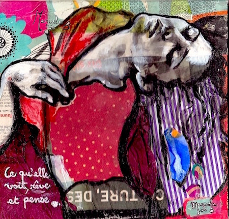 peinture-collage danseuse penchée en arrière