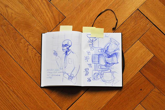 Doppelseite mit einem Portrait und einer Gepäck-Situation im Zug