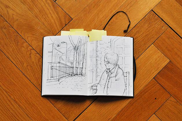 Eine Skizzen von unserem Haus-Vorplatz und ein Portrait aus Frankreich