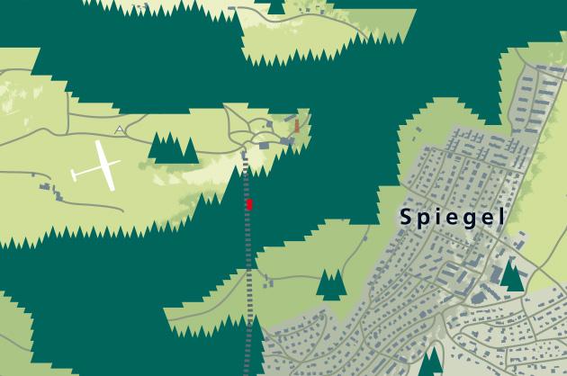 Ortsplan von Köniz in 3D für die SP-Köniz. Detail vom Gurten.