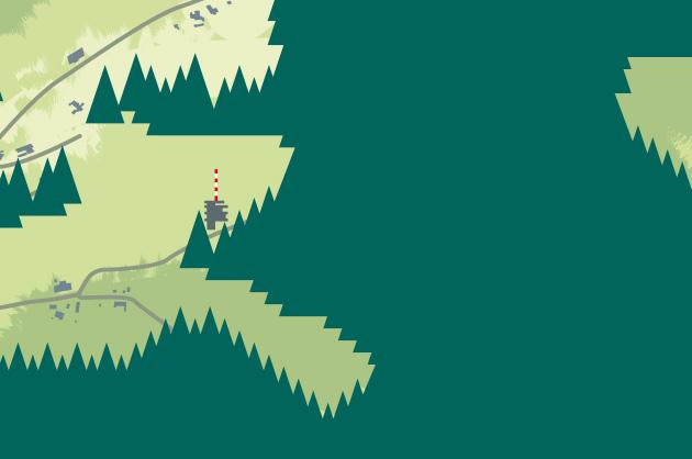 Ortsplan von Köniz in 3D für die SP-Köniz. Detail vom Ulimz-Turm.