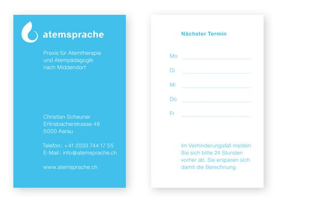 Teil des Corporate Design: Visitenkarte atemsprache