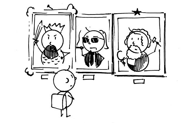 Karl mit Karl dem grossen, Karl Lagerfeld und Karl Marx