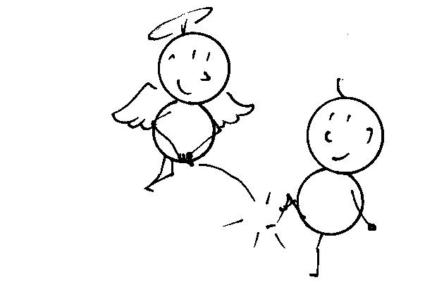 Ein Engel pinkelt Karl über den Fuss