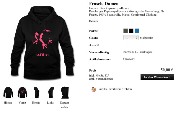Shirt Frosch. Damen