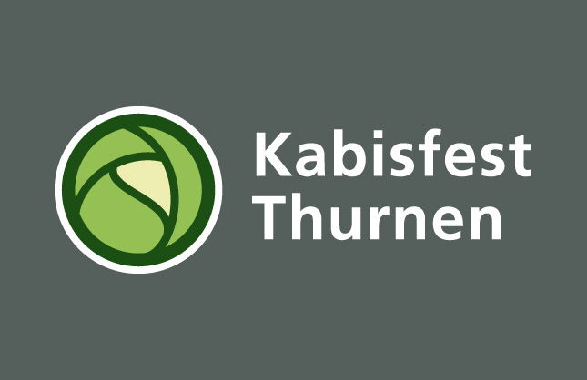 Logo-Design Kabisfest Thurnen, final pick in negativer Anwendung