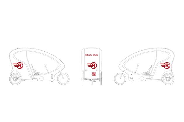 Fahrzeug-Beschriftung Rikscha-Walla. Planskizze