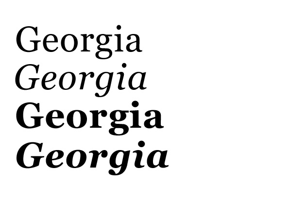 Georgia – Schriftart in den verschiedenen Schriftschnitten