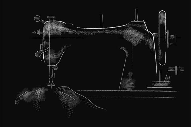 Reinillustration 1 – Nähmaschine