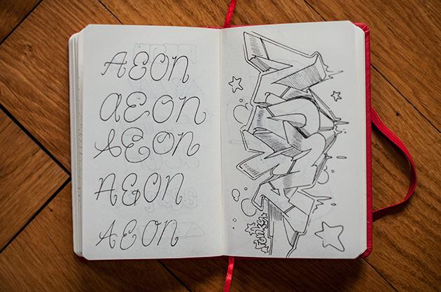 Skizzenbuch – Schriftspiele mit «Aeon» Teil 2