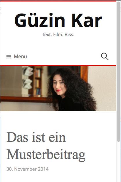 Webdesign für Güzin Kar – erster Entwurf für die Darstellung auf einem kleinen Bildschirm