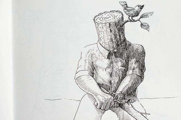 Illustration mit Tuschezeichner – Holzmann mit Vogel am Schnitzen, Totale