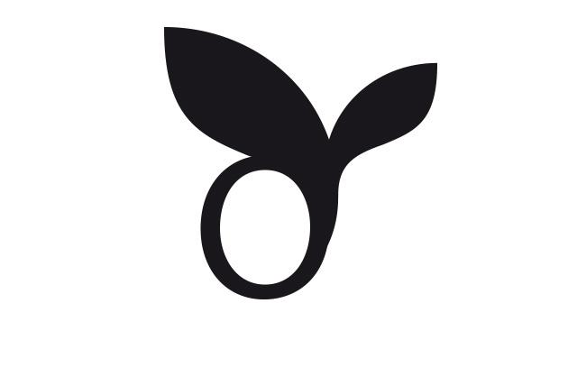 Bildmarke mit Blättern und einem «O»