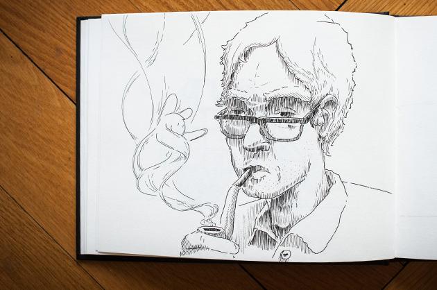 Tusche-Skizze eines Pfeife rauchenden Mannes.Im Rauch winkt und lacht eine Figur.