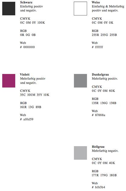 Logo ORCHID; Farbtabelle mit den verwendeten Farben in den entsprechenden Farb-Systemen