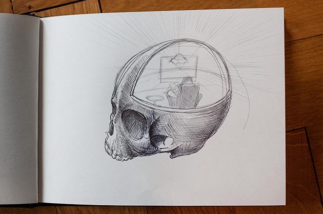 Kugelschreiber-Skizze eines menschlichen Schädels