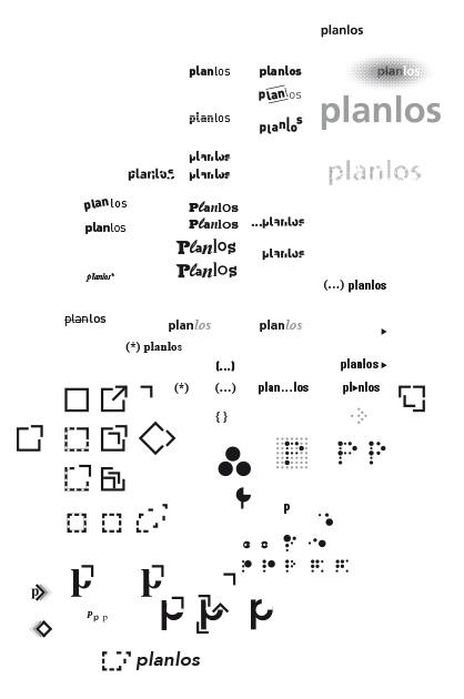 Logo Planlos – Entwurfs-Brouillon mit allen Entwürfen
