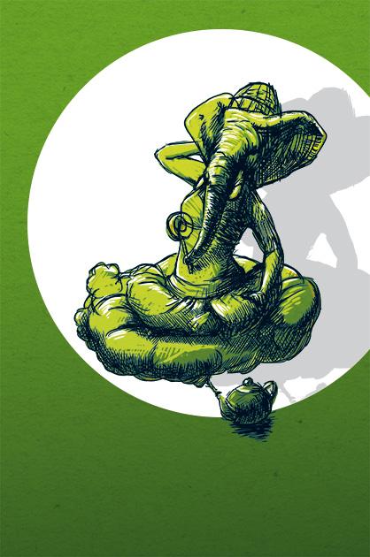 Illustration – Werbesujet für die Improvisations-Theater-Gruppe planlos. Ideenskizze mit einem Flaschen-Elefanten-Geist