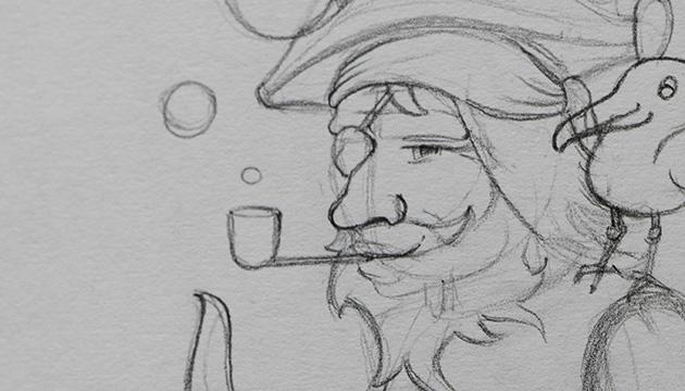 Bleistift-Skizze von einem Pirat für planos – Beitragsbild