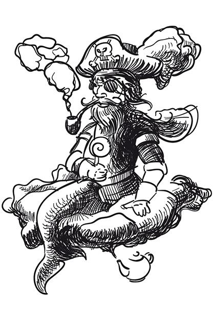 Illustration in Schwarz und Weiss von einem rauchenden Piraten mit einem Meerjungfrau-Schwanz auf einer schwebenden Wolke