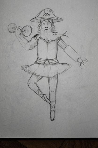 Bleistift-Skizze von einem Pirat für die Improthearer-Gruppe planlos