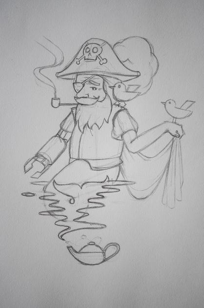 Bleistift-Skizze von einem Pirat auf einem A4-Blatt