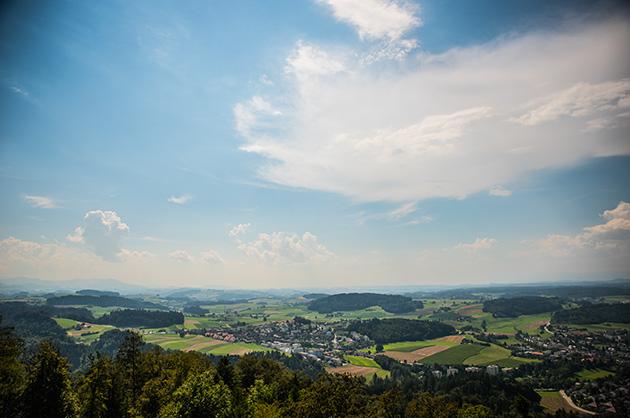 Panorama vom Aussichtsturm auf dem Gurten mit dem Blick in Richtung Freiburg