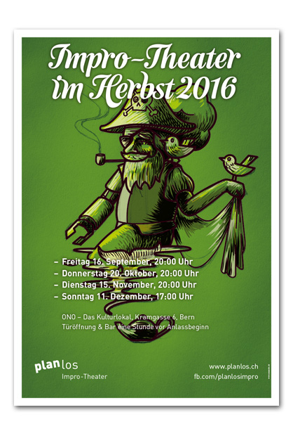 Plakat mit den Herbstterminen 2016 für die Impro-Theater-Gruppe planlos