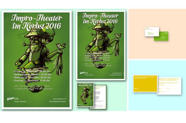 Plakate, Flyer und Visitenkarte für planlos in einer Produkteübersicht.