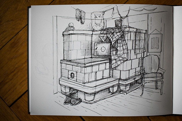 Skizze von einem Kachelofen aus dem Jahr 1946 in einem Bauernhaus in Wildhaus