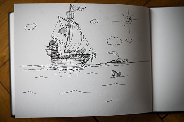 Zeichnung von einem erfundenen Piratenschiff auf See