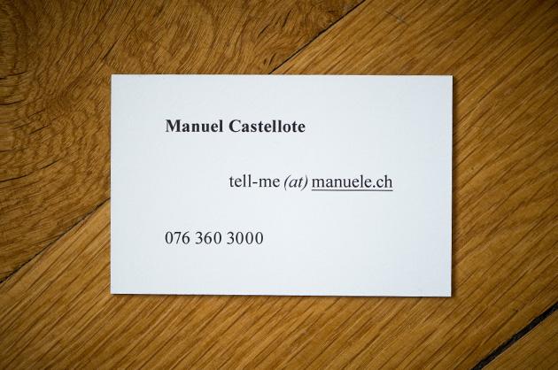 Visitenkarte manuele, Rückseite
