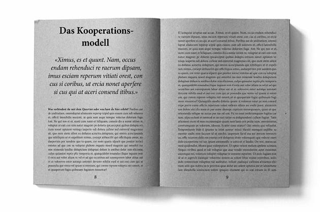 Layoutbeispiel aus dem Murifeldbuch – Doppelseite aus dem Kapitel Kooperationsmodell mit lateinischem Blindtext