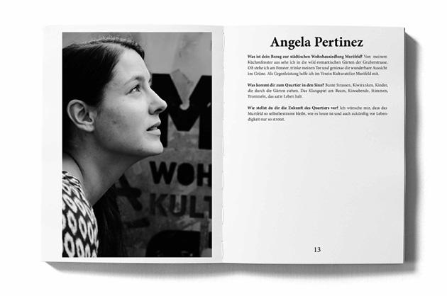 Layoutbeispiel aus dem Murifeldbuch – Doppelseite mit einem Portrait. Bild aus kurzer Distanz und kurzer Text.
