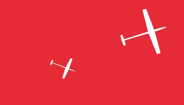 Ortsplan für die SP-Köniz rotes Beitragsbild mit zwei weissen Segelflugzeugen